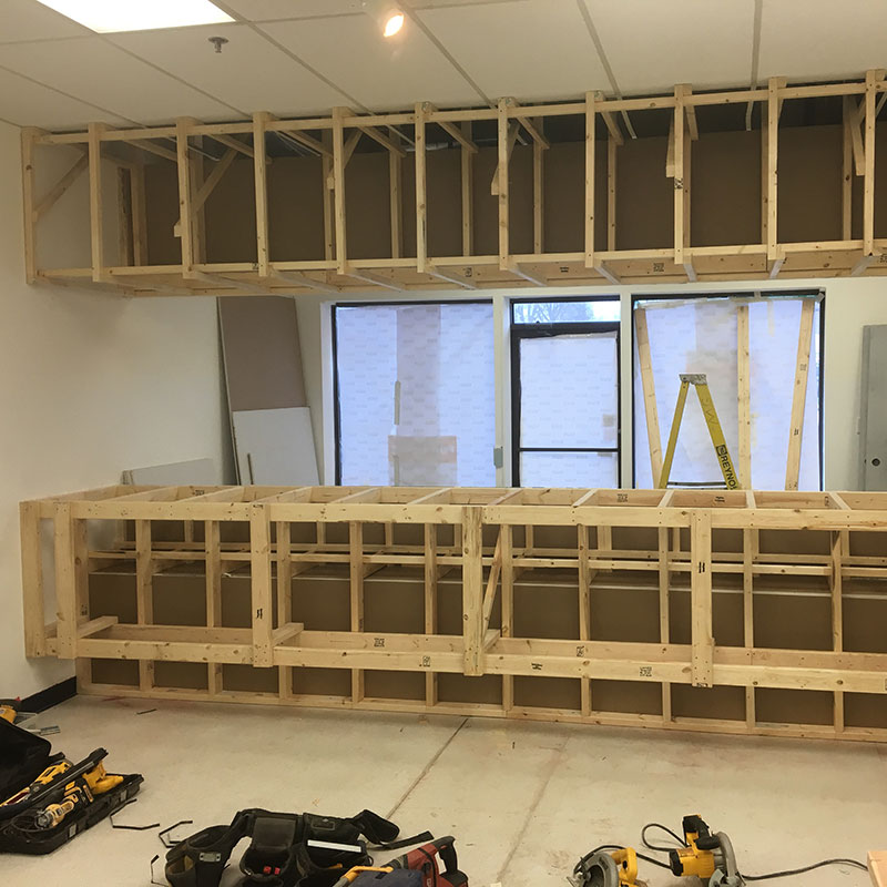 Interior photo of Encash showing construction in progress